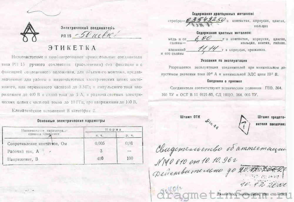 Формуляр РП15-50ШВ