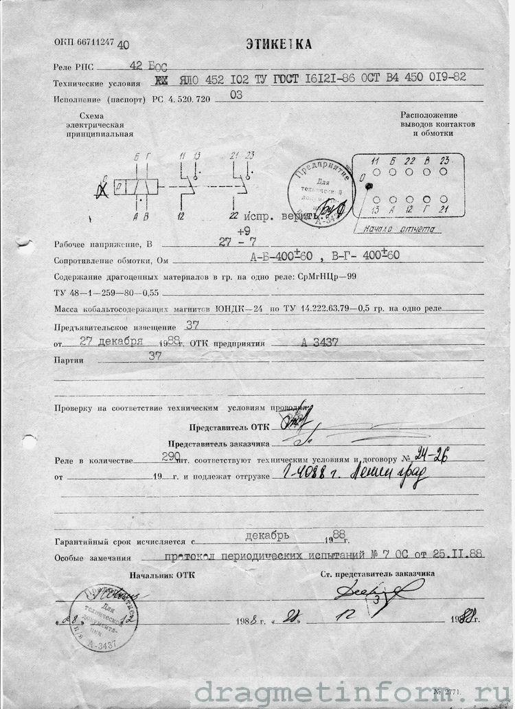 Формуляр РПС-42