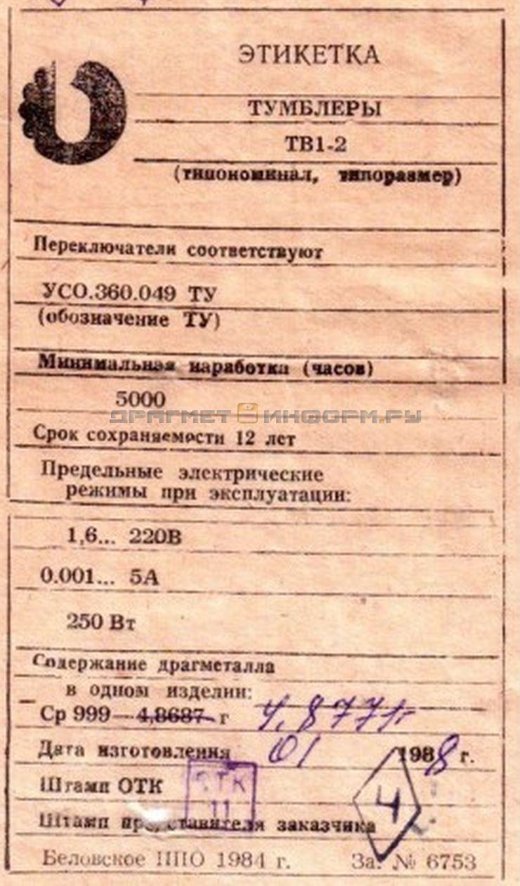 Формуляр ТВ1-2