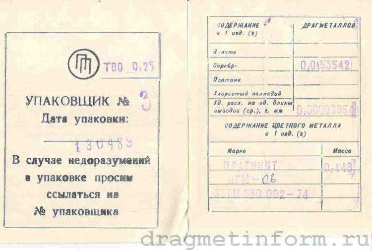 Формуляр ТВО 0,25 10 ОМ - 510 КОМ