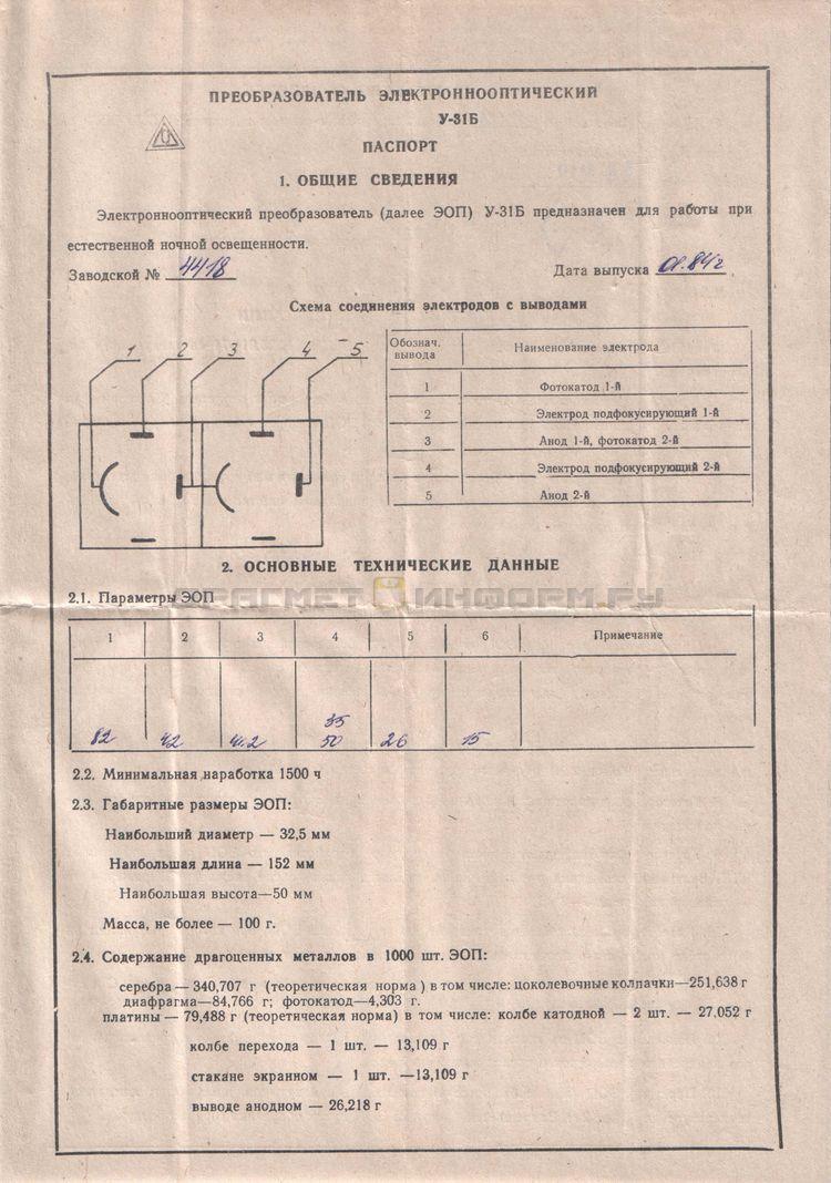 Формуляр У-31Б