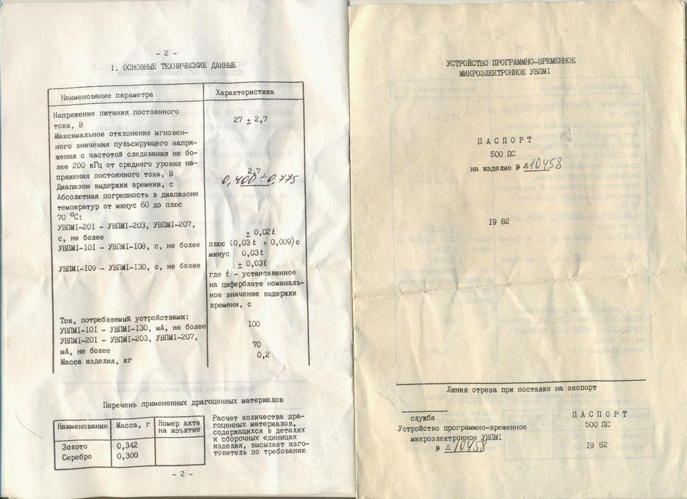 Формуляр УВПМ1-115,8
