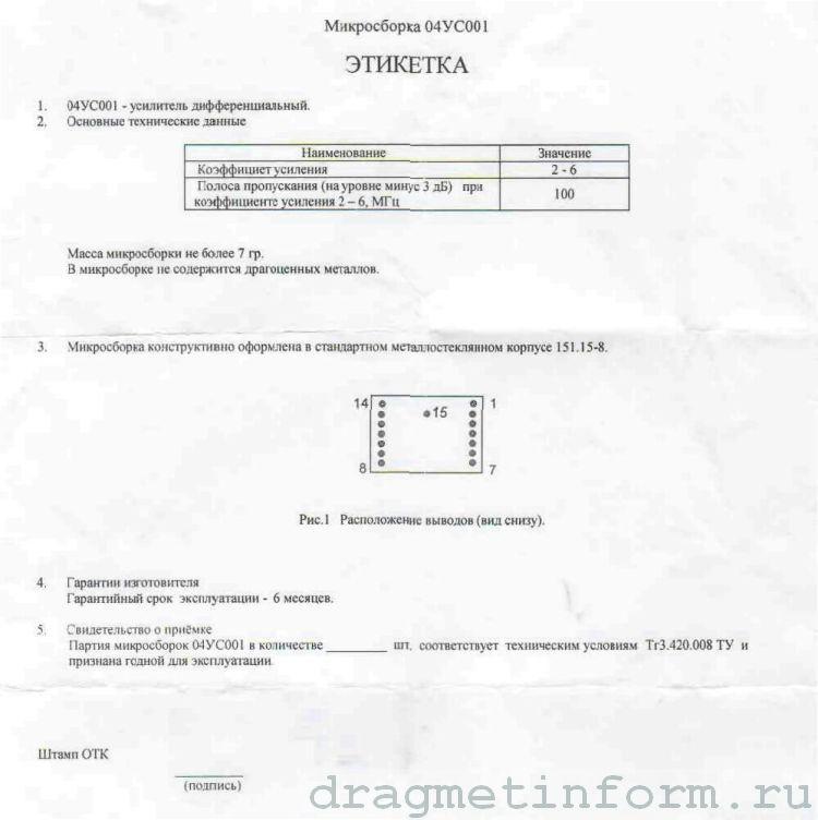 Формуляр 04УС001