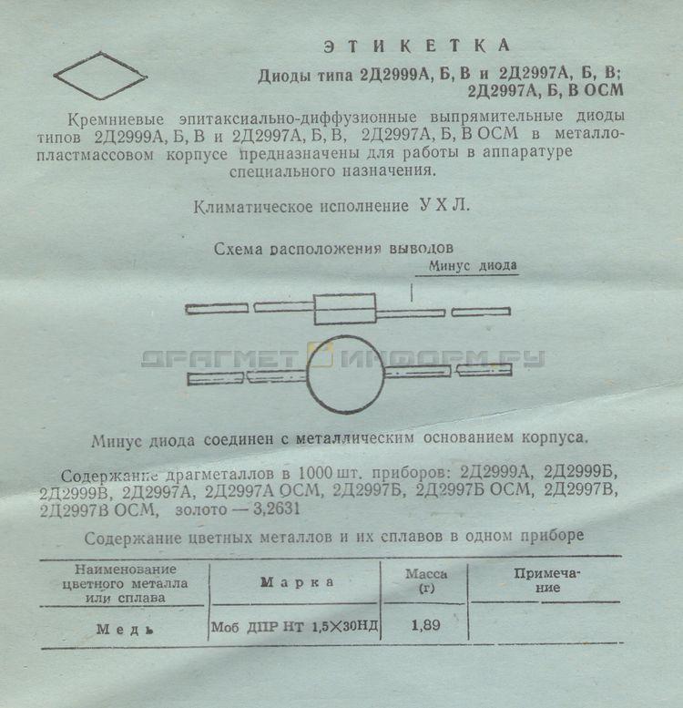 Формуляр 2Д2997Б ОСМ УХЛ ПО 070.052