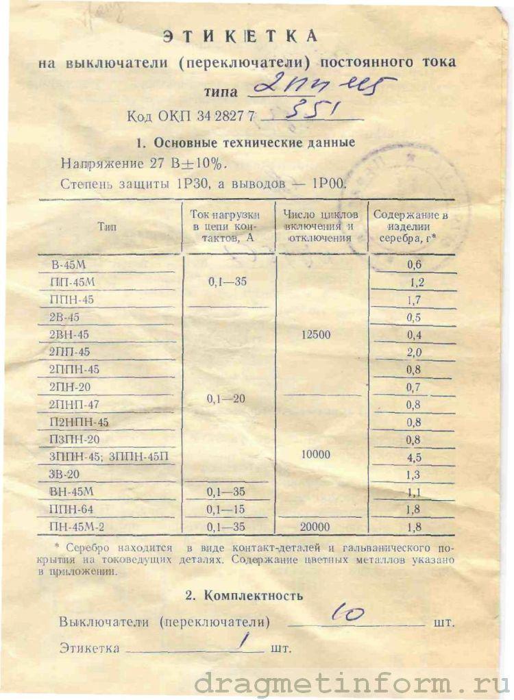 Формуляр ВН-45М